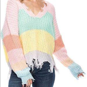 colorful pastel v neck sweater